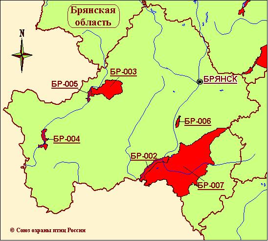 Карта-схема КОТР международного значения в Брянской области.