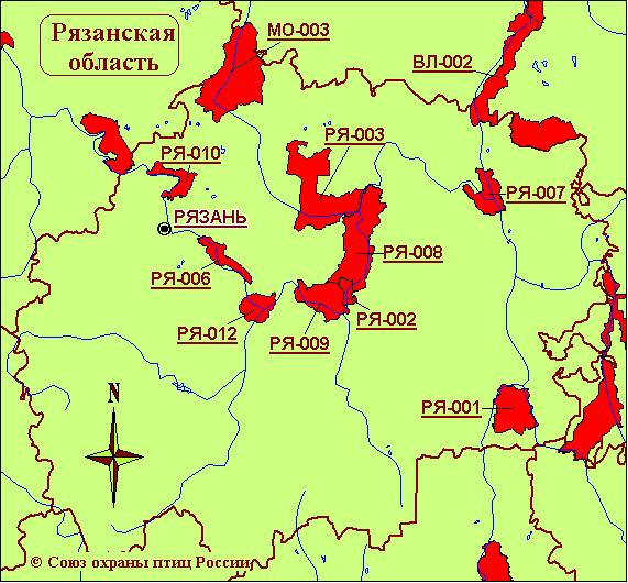 Карта-схема КОТР международного значения в Рязанской области.