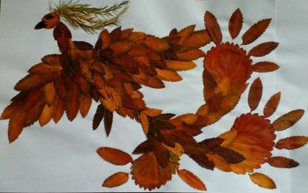 Поделка из листьев птицу 638