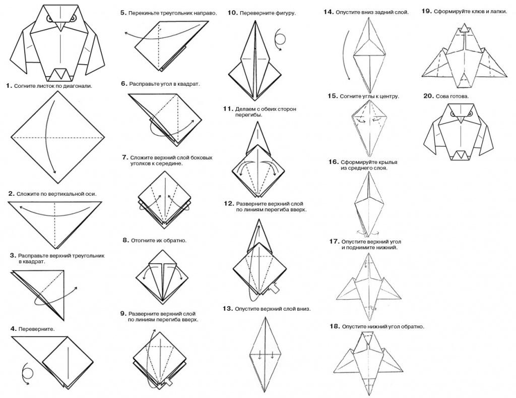 Умная сова оригами схема